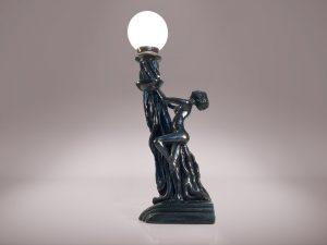 8 Einzelstück Jugendstil Lampe Frau Kugelleuchte