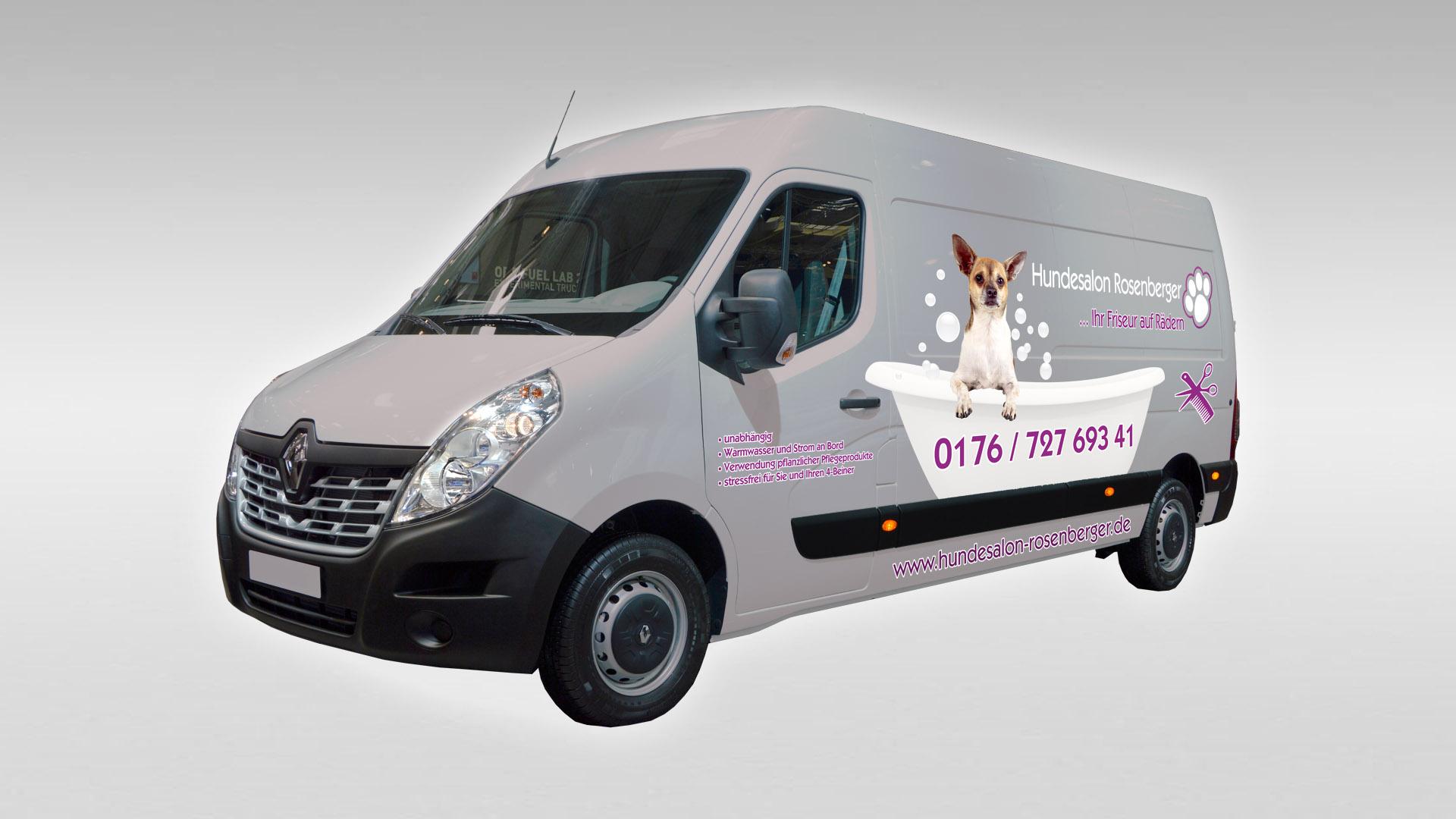 Hundesalon Rosenberger - Fahrzeugfolierung Renault Master reale Umsetzung
