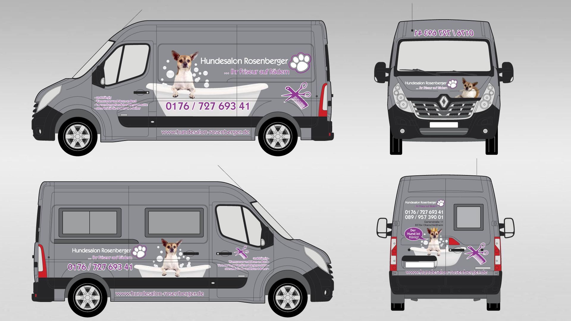 Hundesalon Rosenberger - Konzept und Design - Fahrzeugfolierung Renault Master