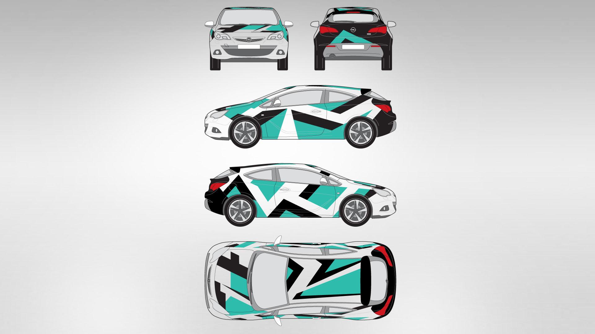 Opel Astra GTC - Design und Konzept - Komplettfolierung Zeichnung