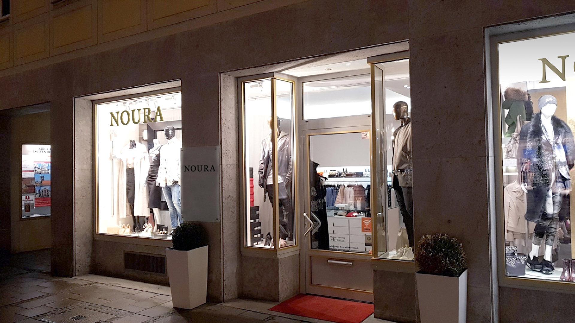 Konzept - NOURA Fashion Boutique Ladenbeschriftung als 3D-Fotomontage