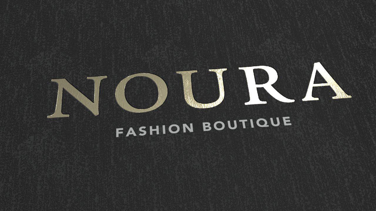 NOURA Fashion Boutique- Visitenkarten - Nahaufnahme Heißfolie gold